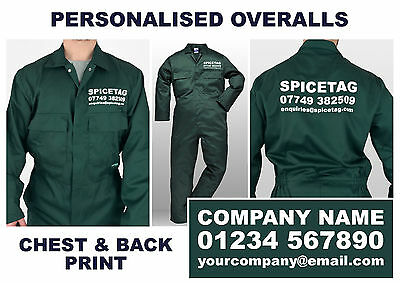 Personalised Embroidered Overalls Custom Printed Coveralls Workwear Boiler Suit