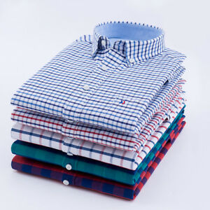 Camisas-Mens-Dress-Shirts-Long-Sleeves-Luxury-Casual-Plaids-amp-Checks-Cotton-6437