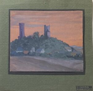 Die-Muenzenburg-am-Abend-1919-Malerin-Ilse-Berthold-Baczynski-Tempera-16-5-x-19-5
