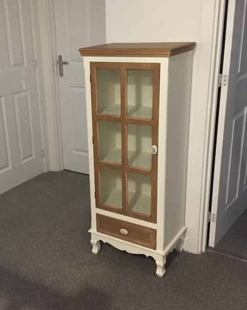 French Display Cabinet Shabby Chic Furniture White Glass Door Tall