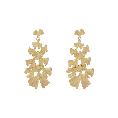 NEW Wayne Cooper Botanica Leaf Drop Statement Earrings Gold
