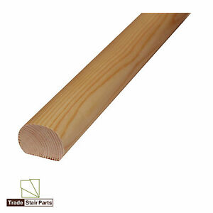 Stair-Handrail-Mopstick-Oval-Wall-Fix-Solid-Wood-Pine