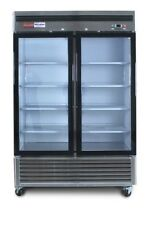 New Refrigerator 2 Double Door Glass Front Reach In Cooler Stainles Merchandiser