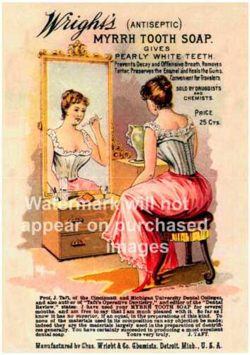 Reproduction. Poster Wall art Wrights Antiseptic old Dental advertising