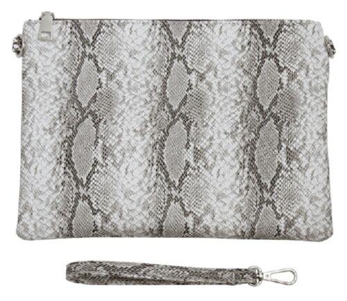 New Grey Snake Print Large Clutch Bag Chain Shoulder Strap Evening Bags LilyRosa