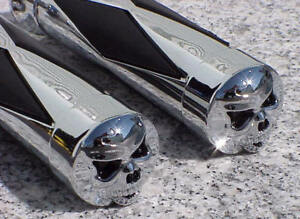 Kawasaki-Vulcan-800-900-1500-1600-1700-Classic-Nomad-Drifer-CHROME-SKULL-GRIPS-B