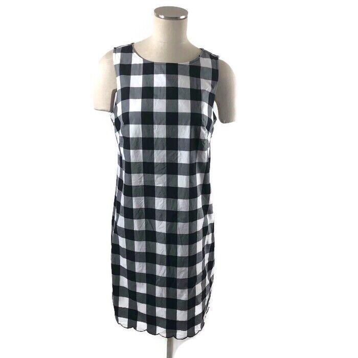 Adrianna Papell damen Checkerot Sheath Dress 10 schwarz Scalloped Hem Gingham