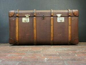 Immaculate-Vintage-English-Banded-Coffee-Table-Trunk-Chest