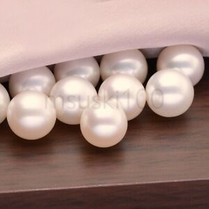 Freshwater-Pearl-Real-Natural-White-Half-Drilled-Hole-Round-Rice-Button-Bead-AAA
