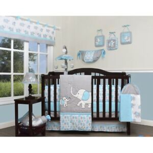 Image Is Loading Crib Bedding Sets For Boys Blue Gray Elephant