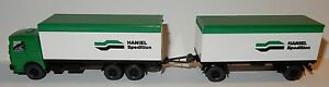WIKING-HO-1-87-CAMION-MAN-BUSSING-REMORQUE-HANIEL-SPEDITION