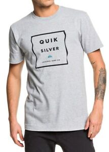 Quiksilver-Mens-T-Shirt-Heather-Gray-Size-Large-L-Box-Logo-Crew-Graphic-Tee-037