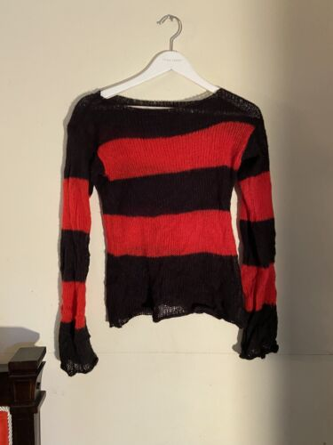 TRIPP NYCRed Black Mohair Stripe Sweater Unisex G