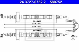 Feststellbremse für Bremsanlage Hinterachse ATE 24.3727-0752.2 Seilzug