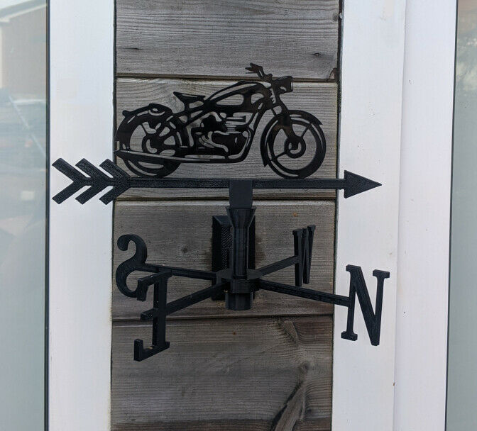 Classic Motorbike Acrylic Garden Weather Vane Wall, Pole or Post Mounted