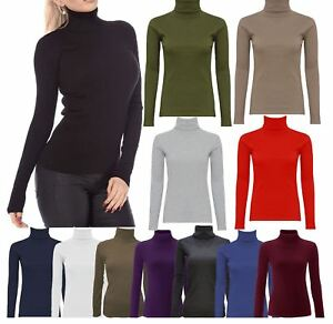 0b27c1dcf New Womens Polo Turtle Roll Neck Top Ladies Long Sleeve Cotton ...