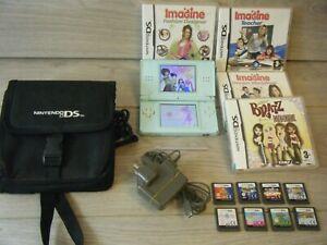 Turquiose NINTENDO DS LITE Bundle Console DS Sac de transport Stylo chargeur +12 jeux