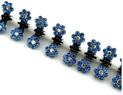Lots 6//12pcs Girls Sweet Crystal Rhinestone Flower Mini Hair Claws Clips Clamps