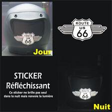 Sticker RETRO-REFLECHISSANTS ROUTE 66 pour CASQUE - Harley HD - 11cm x 5cm