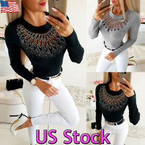 Womens-Mesh-Long-Sleeve-Blouse-Ladies-Hollow-Out-Slim-Fit-Casual-Tops-T-Shirt-US