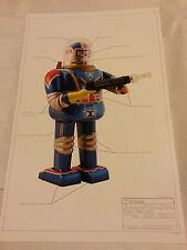 "PRINT #5 Robot Japan classic tin toy space 17""x11"" ray gun Astronaut 1963 MINT"