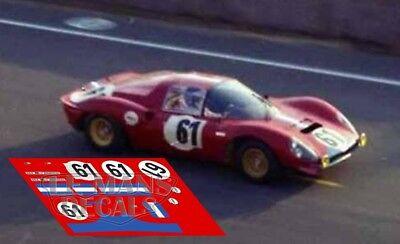 Calcas Ferrari 206s Dino Le Mans 1969 61 1:32 1:43 24 18 64 87 Slot Decals