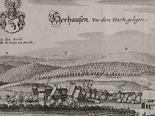 "Merian-ORIG. grabado 1654: herrhausen en Seesen/resina ""herhausen antes del"