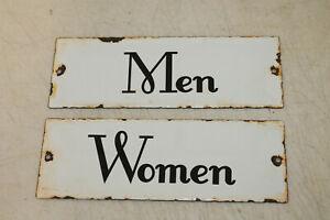 Vintage Style Women Men Restroom Signs Porcelain Enamel Gas Station Garage