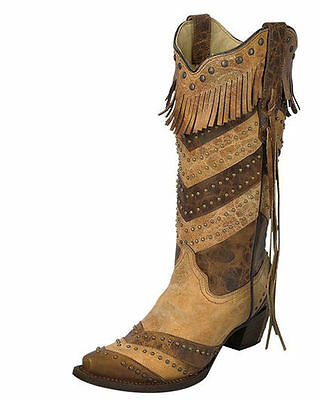 4ccca6e0396 NWT Corral Women's Two Tone Stripes And Fringe Snip Toe Cowgirl Boots A3081  | eBay