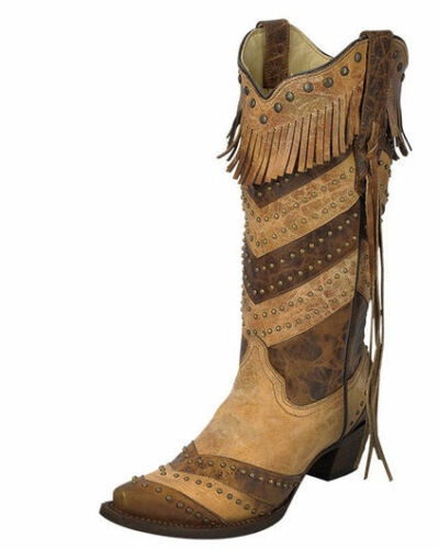 NWT Corral Women/'s Two Tone Stripes And Fringe Snip Toe Cowgirl Boots A3081