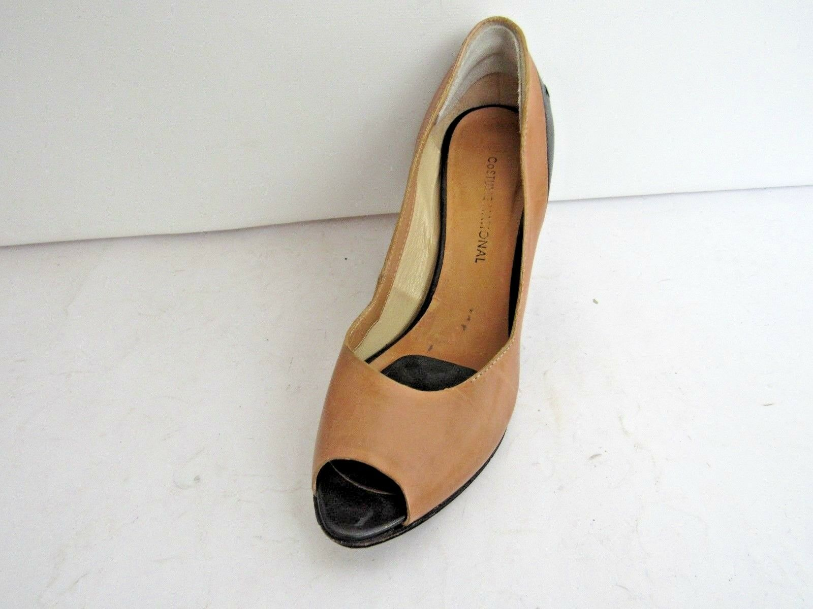 Costume National open toe Wedge chaussures Noir Et Tan (taille 5)