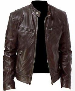 Vintage-Retro-Men-Moto-Cafe-Racer-Biker-Black-amp-Brown-Genuine-Fit-Leather-Jacket
