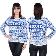 Strick Pullover Pulli Sweatshirt Norweger Blau Weiß Langarm 34 36 38