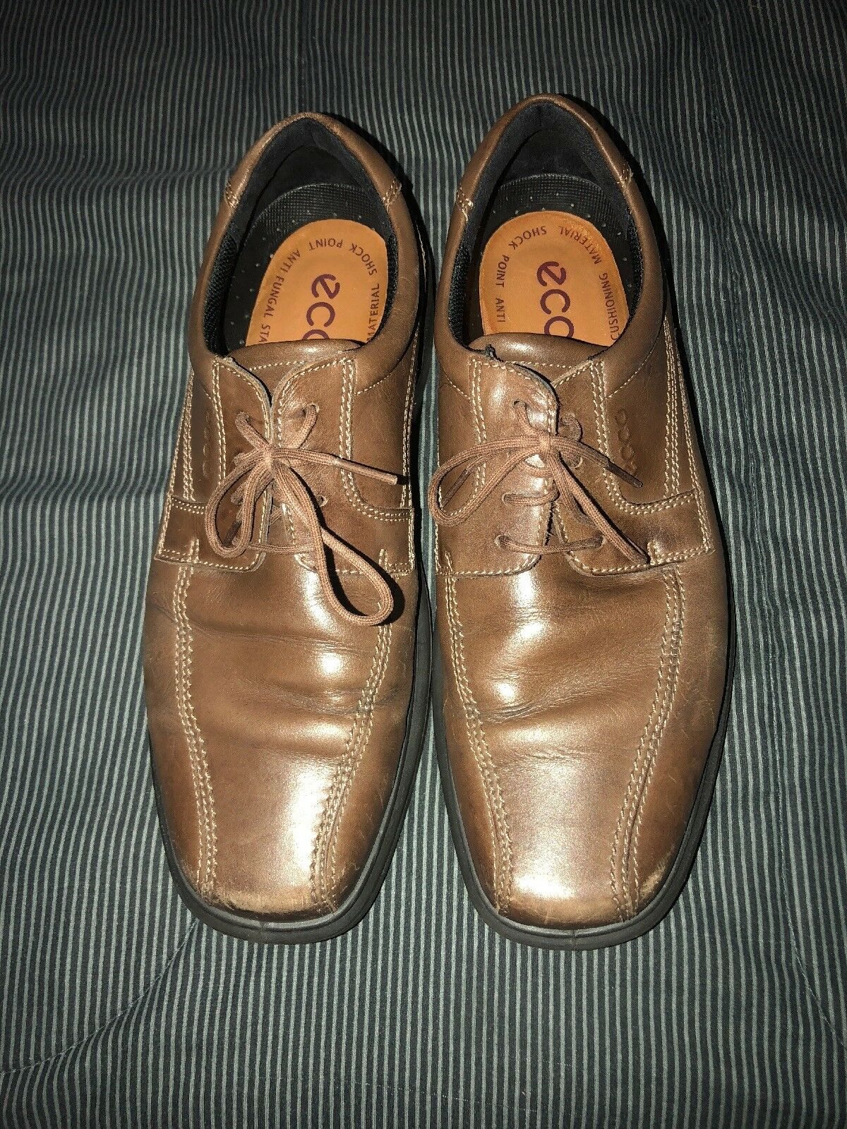 ECCO Square Bicycle Toe Mens Leather Dress shoes Oxfords Size US 10 10.5