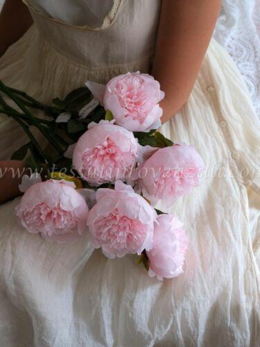 Peonia in stoffa shabby chic colore rosa