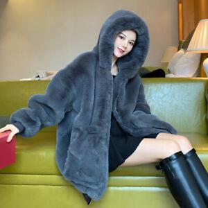 New Fashion Women Casual Thicken Winter Warm Faux Rabbit Fur Coat EH7E