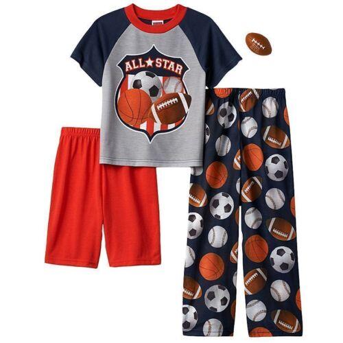 All Star Sports Up Late Sleep Pajama 3 Pc Set Shirt Pant Short Kid Free Football