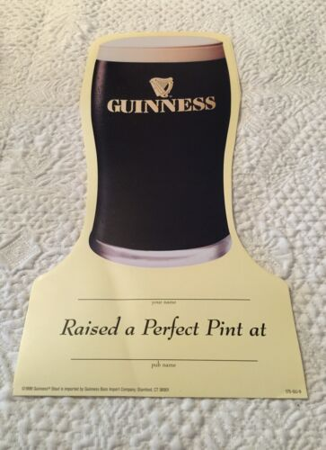 """Guinness Bar 10 Paper Signs To Be Personalized /""""Raise a Pint/"""" Lager Glass Shape"""