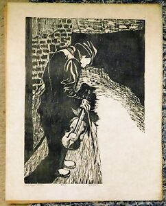 Vintage woodblock signed print mystery artist on vellum paper , 16 x 11.5
