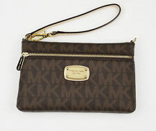 New Michael Kors Brown JET SET Signature Logo Wristlet Clutch Wallet Phone Case