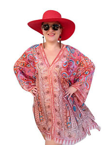 Plus-Size-Silk-Brown-Kaftan-Top-Beach-Coverup-Paisley-Stylish-Resort-Cruise-wear