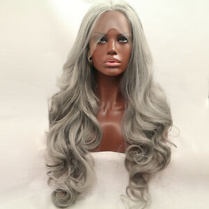 Silver-grey-Lace-Front-wig-Long-hair-wavy-curly-Middle-part-mermaid-Women-039-s-Wigs
