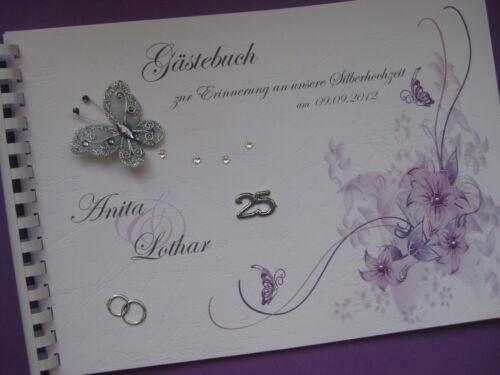Geschenkidee Deko Gästebuch Silberhochzeit Silberne Hochzeit