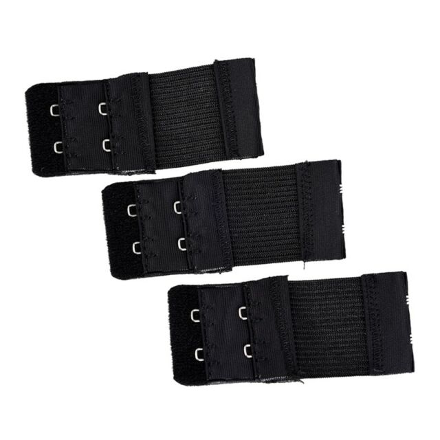 3pcs Woman 2 x 2 Hook and Eye Tape Elastic Extension Bra Extender Blac J9P8