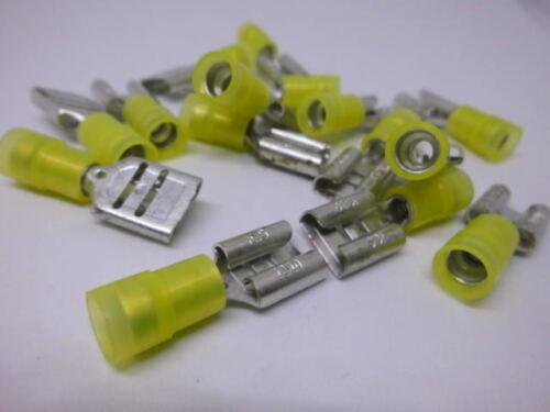 10 TERMINALI piatti femmina giallo steckmaß adatto 9,5 mm per veicoli Spec per Relè di commutazione
