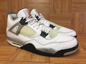 76275c1b9bef56 RARE🔥 Nike Air Jordan 4 Retro OG White Cement Gray Black Sz 17 ...
