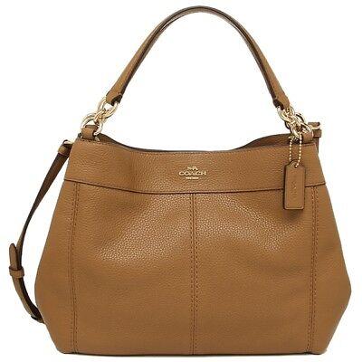 NEW WOMENS COACH (F28992) SADDLE PEBBLED LEATHER SMALL LEXY SHOULDER BAG HANDBAG