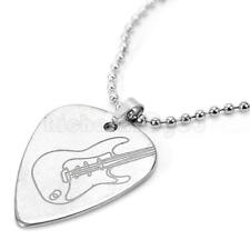 Necklace Pendant - Guitar Pick Plectrum Holder Metal Silver Tone 50cm Chain