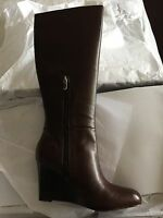 Ann Taylor Loft Tall Emmy Brown Wedge Boots In Sz 8.5