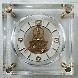Vintage SEIKO Lucite Mantle Desk Quartz Skeleton Clock - EXC condition - works